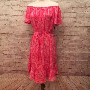 Off Shoulder Dress Red Pink Leaf Print Ruffle Hem